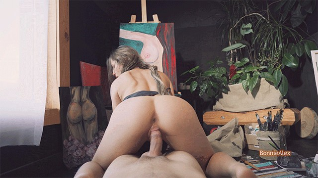 Passionate artist kisses and rides a dick in her workshop