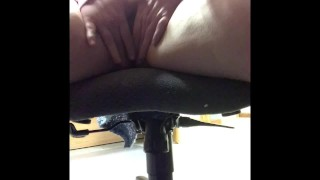 Office Slut plays with herself under desk while watching porn.  I got too loud and almost got caught