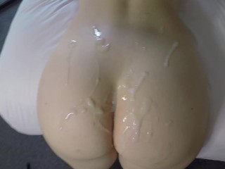 Hot Blonde Takes A HUGE Cumshot On Her Sexy Ass After Fucking