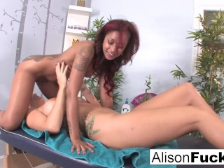 Sexy Skin Daimond uses her fingers and mouth to massage Alison Tyler!