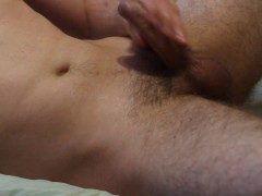 A guy solo masturbating with loud moaning