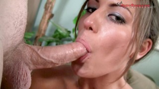 Screen Capture of Video Titled: Do you think this is the BIGGEST FACIAL cock sucker Rilynn Rae has EVER TAKEN?