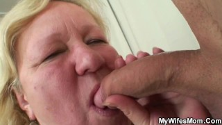 Big belly mother inlaw sucks and rides his young cock