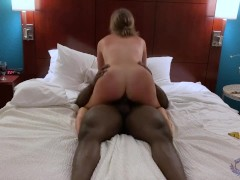 Hotwife riding her BBC bull to multiple orgasms while teasing cuck