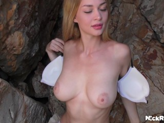 Met a girl in Turkey and fucked her on the beach ! Big Boobs On A Public Beach