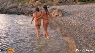 Wife and Girlfriend having Lesbian Fun on Public Beach