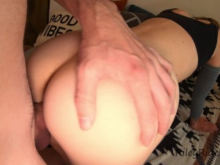 Quicky morning sex ends with huge dripping creampie!! Extra creamy tight pussy!! 4k 60fps
