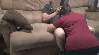 Bored stepmom decides to suck stepsons cock while he's doing homework.