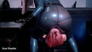 Lesbian latex ass worship, strapon suck, deep throat, facesitting