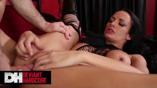 Screen Capture of Video Titled: Deviant Hardcore - Kinky Babe Alektra Blue Masturbates First Then Gets A Big Cock