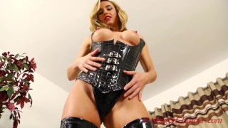 Seductive Blonde Mistress Melanie Dominates In Cupless Latex Rubber Corset & Knee High Boots