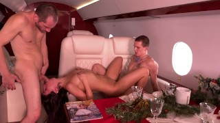 Fucked her on the plane in her pussy and ass at the same time, and then cum in her mouth