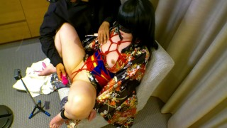 Kimono cosplay girl is restrained in a chair and gets pleasure with sex toys Full HD
