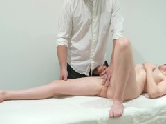 Massageroom. Hot bitch grabbed the masseur's dick and gave cum in the ass