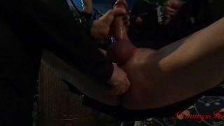 BDSM femdom cock sounding handjob, ballbusting and ass fuck till cumshot in sex swing