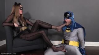 Batman Begs 3 - Catwoman Foot Domination Pantyhose Footjob Denial TRAILER