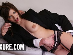 Manon Martin hot brunette anal plug in turns to threesome