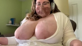 Huge Tits Covered in Cum Lube, Swing
