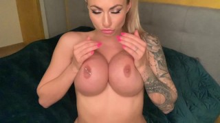 Horny blonde girl masturbate in bedroom - CREAMPIE PUSSY