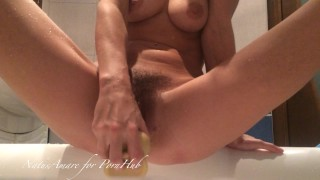 Husband catches his wife masturbating and roughly fists her holes