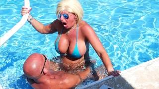 SEXIEST BIKINI FUCK EVER PT 3. Hooters stepmom fucks Fit stepson in Pool. Gets Huge Facial