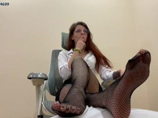 Glamorous Smoking Goddess In Glasses and Fishnet Pantyhose Use Human Footrest [PREVIEW]