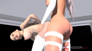 Earth orbit - a sex journey. Alien shemale fucks a horny sex slave in the space station