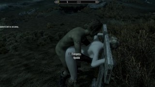 Porn with his personal maid at night in the parking lot   Skyrim sex mods
