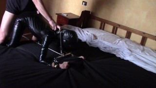 Laura XXX amateur stepsister tied to a machine, had to suck a cock and fucked