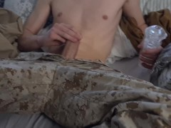 Military straight twink jerks off and moans a lot after coming back home from a mission