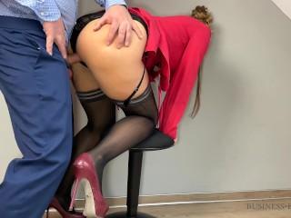 Business meeting break - secretary rides boss and gets juicy creampie and salary increase as reward