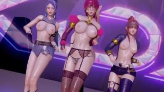 R18 MMD Stellar - Marionette Strip Dance Ahri Akali Evelynn Kaisa 3D Erotic Dance
