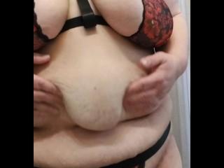 BBW SSBBW Grabbing Shaking Fat Boobs Tits Belly Rolls Fatty Breasts Knockers Lingerie Chubby Chunky