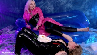 Foot Fetish Video, Lesbian Food Cake Play and Feet Sucking, Foot gagging