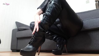 Worship and edge for my laced up high heeld boots