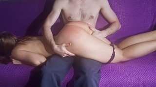Spanked My Girl's Juicy Big Ass To Red For Bad Behavior