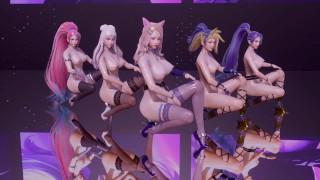 [MMD] K/DA - The Baddest 5 Girls Strip Ver. Ahri Akali Evelynn Kaisa Seraphine 3D Erotic Dance