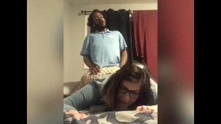 When the money for the rent is spent*sexy nerdy bbw sucking, getting eaten and pounded by landlord*