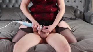 Goddess brings submissive to huge cum shot