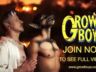 GrowlBoys – little twink boy takes raw cock from muscular satyr daddy