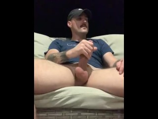 Playing with his dick outside