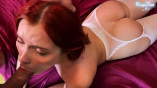 Girl In White Fucks and Deep Blowjob Client's Dick