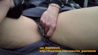 MILF gets pussy jerked off in car while riding