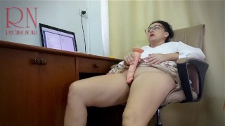 Woman secretary gets fucked with a dildo. Hidden camera in the office Part 3