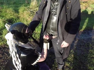 Miss Maskerade exhibition in full rubber french maid adventure outdoor giving latex blowjob