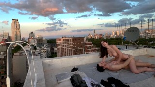 Outdoor public sex on the roof - Anyone could see us! - HOT Amateur