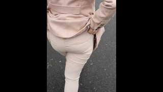 Step mom risky handjob in supermarket making step son hard ready to cum on her hands