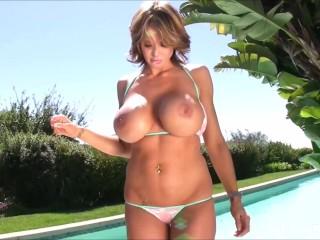 See Brandy Robbins photoshoot wearing her tiny bikini
