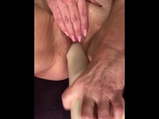 Slutty MILF GILF Gives Fuck Me Instructions With Huge Dildo