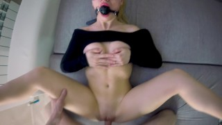 I gave a surprise gag and cum face for bitch. HARD FUCK BIGASSED BLONDIE